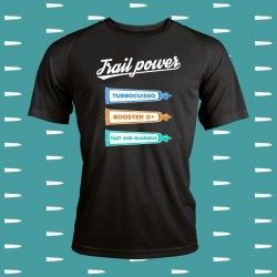 idée cadeau t-shirt running fun et original Trail power (gel turbocuisso, gel booster D+, gel fast and glorious)