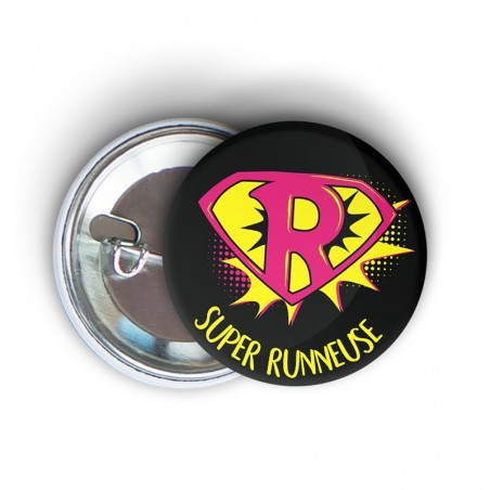 badge épingle à message humoristique running Super runneuse - cadeau course à pied