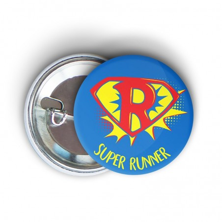badge épingle fun super runner - cadeau course à pied