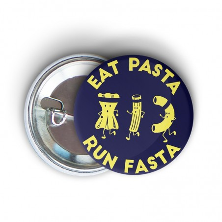 badge épingle à message fun eat pasta run fasta - cadeau running