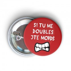 badge épingle à message fun si tu me doubles j'te mords - cadeau running