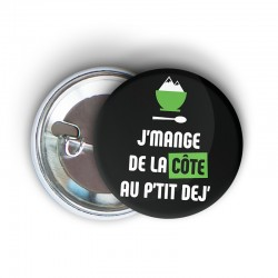 badge épingle à message humoristique running j'mange de la côte au p'tit dej' - cadeau course à pied