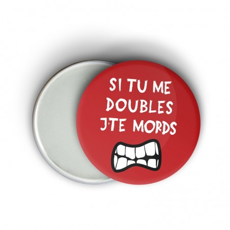 Magnet message humoristique running - si tu m'double j'te mords - Cadeau trail running