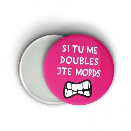 Magnet message fun course à pied - Si tu me doubles j'te mords - Cadeau trail running