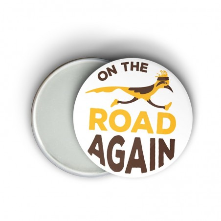 Magnet message humoristique running - On the road again - Cadeau trail running
